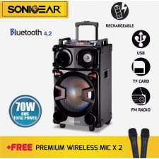 SonicGear KBX8000 Portable Speakers with USB/TF Card/Radio Free 2x Wireless Mic (Free wired microphone)