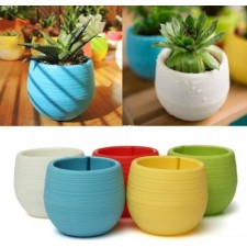 Colorful 7*6.5cm Round Plastic Flower Pot Plant Planter Garden Home Office