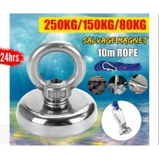 80KG-250KG Strong Salvage Magnet With Magnetic Hooks Diving Fishing Recovery Tools