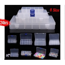 10 15 24 36 Grid Plastic Box 4 Size Case Jewelry Bead Storage Container Craft Organizer