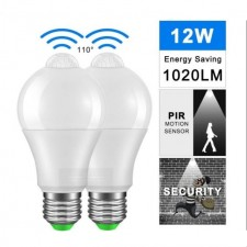 1 Pcs Auto On/Off Motion Sensor Light Bulb 12W Smart PIR LED Bulbs Night Light