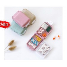 Portable Mini Medicine Travel Pill Case Organizer Wheat Stalk Sealed Small Medicine Box Dispensing Storage