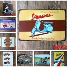 30*20cm Motorcycle Vespa Craft Iron Painting Wall Poster Metal Tin Signs