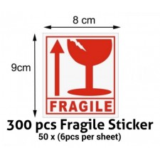 300Pcs Fragile Sticker 9cm * 8cm High Quality Handle with Care