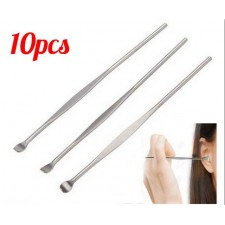 10pcs Earwax Cleaner Stick Care Tool EarPick Wax Curette Remover Stainless Steel