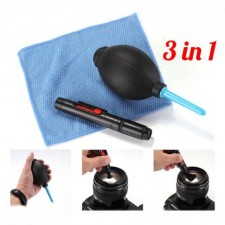 3 In 1 Lens Pen Cleaning Cleaner Dust Pen + Blower + Cloth Kit For Camera