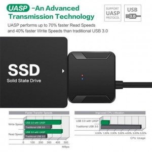 SATA to USB 3.0 DATA Cable 2.5/3.5 HDD SSD Hard Drive Disk Converter Line Adapter No Power Supply