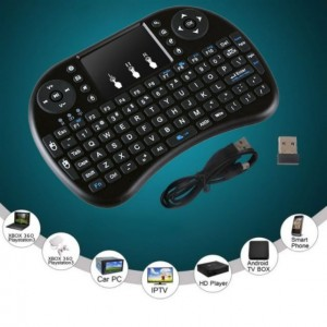 2.4G i8 Black Wireless Rechargeable Air Mouse Mini QWERTY Keyboard