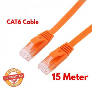 15 Meter RJ45 CAT6 Ethernet Network Flat LAN Cable UTP Patch Router Cables Orange