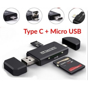 Type C + Micro USB 2 In 1 Multifunctional OTG Card Reader Micro SD / SD Card / USB Reader