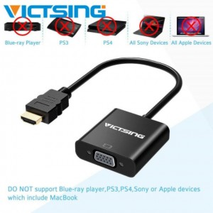 VICTSING HDMI to VGA 1080P HDMI Male to VGA Female Converter Adapter Cable Pc Gold Plated