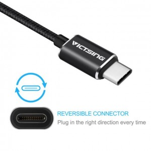 Victsing Type-C to Micro USB Cable Braided Connector for New Macbook ChromeBook Pixel