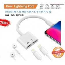 4 In 1 Dual Lightning ios Adapter Earphone Jack Audio Charge Cable all iPhone X 8 7 11 Pro XS MAX XR Plus