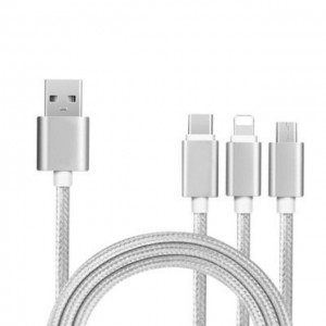 3 In 1 USB Nylon Cable Type-C Apple Android Type-C Phone Charging Line