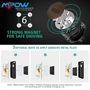 Mpow Magnetic Strong Wood Car Phone Holder Grain Air Vent Car Mount with 6 Magnets
