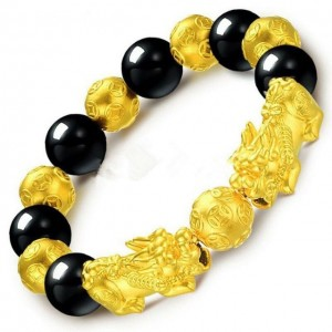 Men Gold Plated Luck Pixiu Obsidian Beads Bracelet