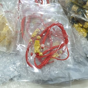 24K Lucky Pixiu Gold Plated Pixiu Red Rope String Lucky Bracelet
