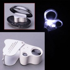 60x 30x Dual Glass Magnifying Magnifier Jeweler Eye Jewelry Loupe Loop LED Lights