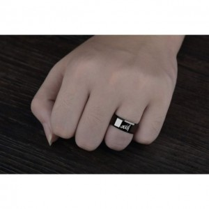 Islam Alloy Men's Muslim Islamism Print Polished Band Ring Father's Day Jewelry Gift