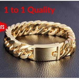 Heavy Gold Original Steel Cuban Curb Chain Men's Bracelet Wrist ID Link Bangle Look Real