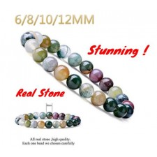 Natural 6-12mm Gemstone Indian Agate Healing Crystal Stretch Beaded Bracelet