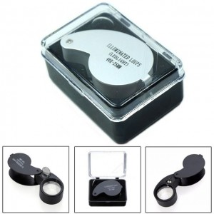 Magnifier 40X 25mm Glass Portable Zoom Loop Magnifying Glass Jeweler Eye Jewelry Loupe LED