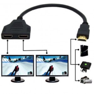 0.3M HDMI Male to 2 x Y Splitter HDMI Female Cable High Speed 1M/2F