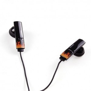 Inner Ear Type Stereo Hedphones Fire Black 3.5mm Audio Jack
