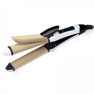 VINS Hair Straightener & Curler 2 Functions in 1 Pro Styling Iron Gold