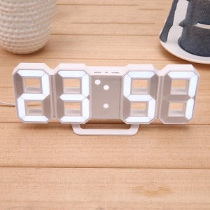 3D LED Digital Display Wall Alarm Clock Multi-Function With USB Cable & Battery