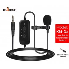 Mamen Collar Microphone Clip-on Mic 6m Cable for Smartphone Phone Camera Interview with Rechargeable Omnidirectional