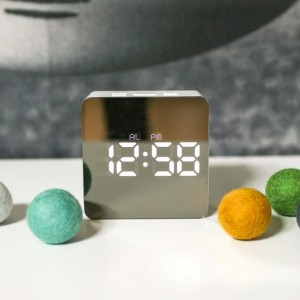 """USB Mirror Alarm Clock Time Display 5.5"""" LED Dimmer Snooze Temperature"""