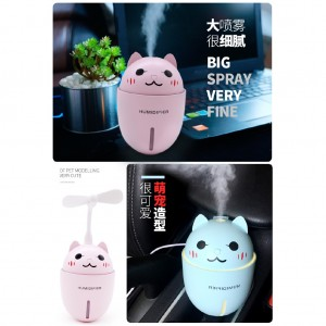 USB Humidifier Mini Air Purifier Freshener Diffuser With Fan And LED Light 3 In 1 For Home Working Desk