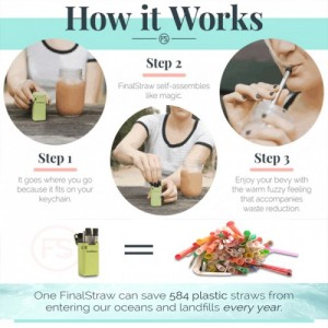 FinalStraw Reusable Collapsible Compact Metal Stainless Steel Drinking Straw