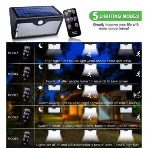 60 LED Wireless Waterproof Solar LED Light Motion Sensor Lights Outdoor with Remote Control Security for Street Garden
