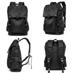 Bag Men Canvas Backpack Laptop Bag Waterproof Casual Travel Black Beg 371