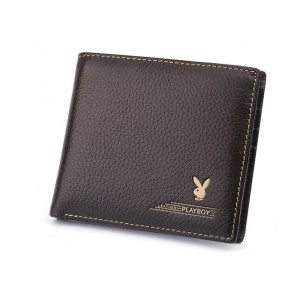 Leather Short Wallet with Many Card Slots Logo