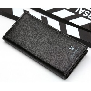Leather Long Wallet With Many Card Slots Logo