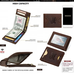 CONTACT'S Genuine Cowhide Leather Money Clip Wallet RFID Blocking Card Holder Men Casual Fashion Wallets