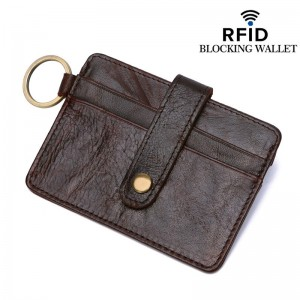 Genuine DKER Cowhide Leather Men RFID Blocking Wallet Card Pouch D3022