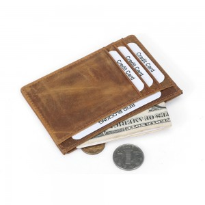 Genuine DKER Leather Card Holder Wallet with Coin Pocket Slim RFID Blocking For Men and Women Credit Purse