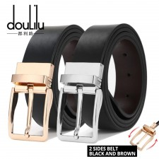 Doulilu Men Leather Premium Quality Smooth Buckle Tali Pinggang Waist Belt 253