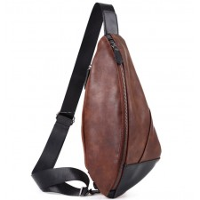 Leather Chest Beg Cross Body Bag Casual Men Sling Smooth Zipper Changeable Sides Shoulder Wallet