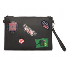 Leather Clutch Bag with Sling Hand Pouch for iPad Badges Casual Fashion Wallet Beg Men Premium Purse Korean