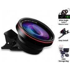 HD Phone Lens 2-in-1 Camera Lens Wide Angle Lens with Macro Super Multi-coated for SmartPhone Laptop Tablet