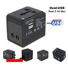 2.1A Output 2 USB Universal World Travel Adapter Fast Charger