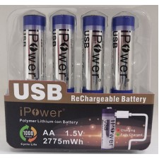 4 x AA / AAA 1.5V USB Rechargeable Battery Polymer Lithium-ion Cell