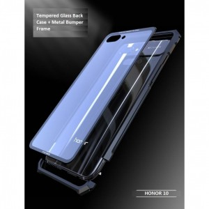 Huawei Honor 10 Metal Bumper Frame Tempered Glass Phone Case Cover Casing