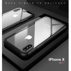 IPHONE X 6 6S 7 8 PLUS Tempered Glass Soft TPU Phone Case Cover Casing