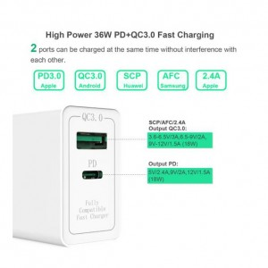 Qualcomm Quick Charge QC 3.0 36w Type C PD Wall Fast Charger Adapter For IPhone Samsung HUAWEI XIAOMI Android UK PLUG